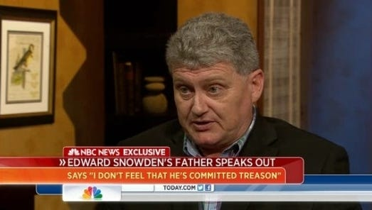 """Lonnie Snowden, father of the NSA leaker, talks about his son on NBC's """"Today"""" show  Friday."""