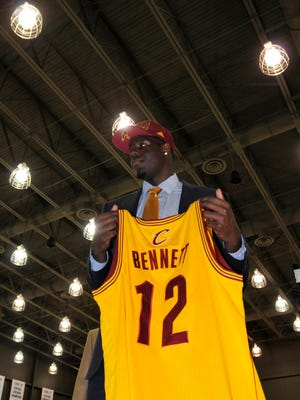 Anthony Bennett showed off his new jersey Friday in Ohio.