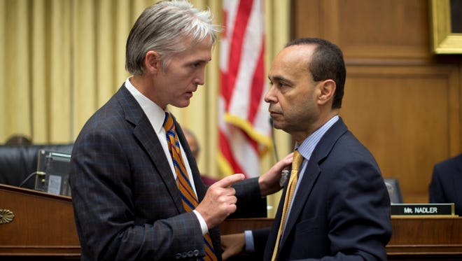 House Judiciary Committee member Rep. Trey Gowdy, R-S.C., left, talks with Rep. Luis Gutierrez, D-Ill., on Capitol Hill on June 18, 2013.