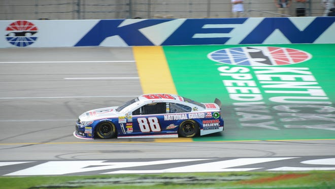Dale Earnhardt Jr. will start on the pole for Saturday night's Quaker State 400 at Kentucky Speedway.