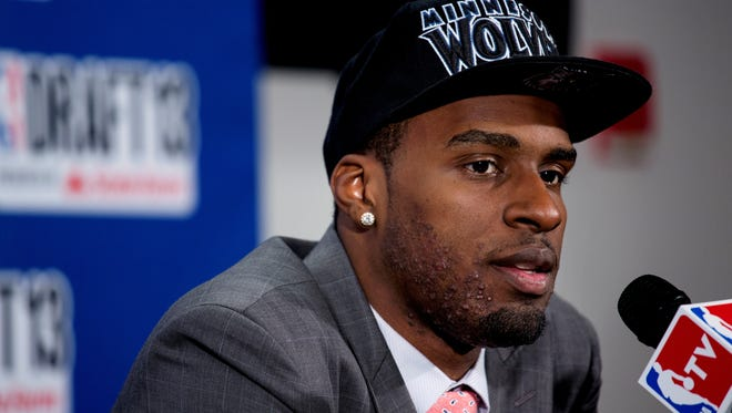 UCLA's Shabazz Muhammad, picked in the first round of the NBA draft, comments during a news conference Thursday.