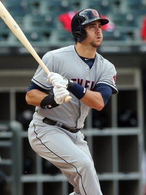Lonnie Chisenhall connects on an RBI double in the fourth inning.