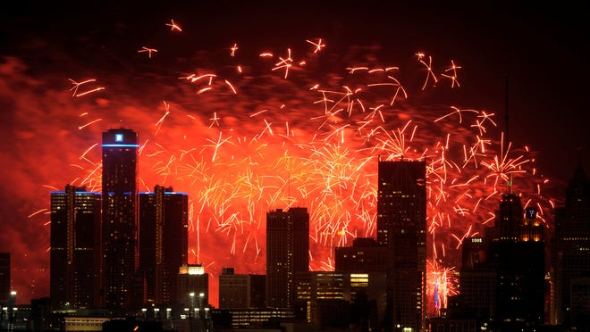 A fireworks show lights the sky in Detroit in 2011.