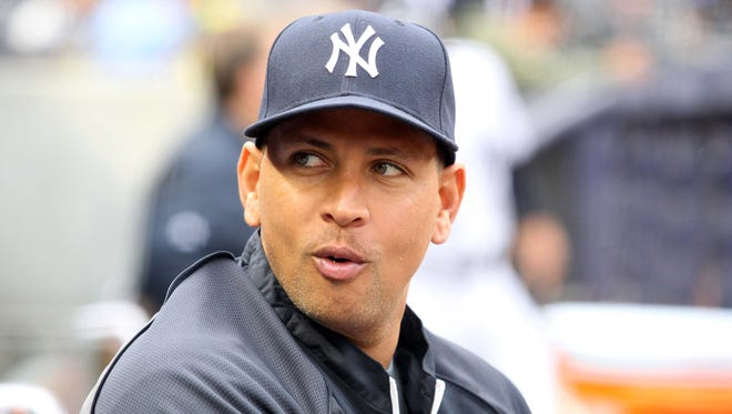 Injured New York Yankees third baseman Alex Rodriguez was sitting (13) in the dugout in April during a game against the Baltimore Orioles.
