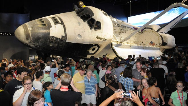 The grand opening of the space shuttle Atlantis exhibit at the Kennedy Space Center Visitors Center was held Saturday morning.
