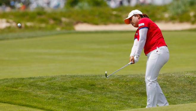 Inbee Park of South Korea on the edge of the fourth fairway during the third round of the U.S. Women's Open at Sebonack Golf Course.