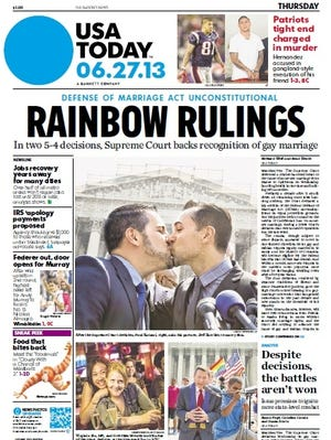 Front page of USA TODAY on day after Supreme Court rulings on gay marriage.