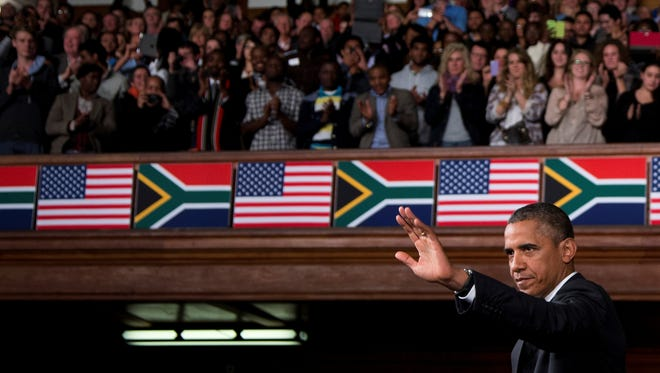 President Obama speaks at the University of Cape Town on Sunday in South Africa.