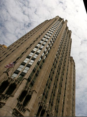 The Tribune Tower, left, home of the Tribune Co. and Chicago Tribune newspaper offices in Chicago.