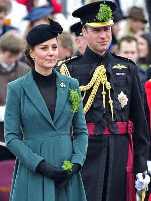 Britain's Catherine, duchess of Cambridge, and her husband, Prince William, attend a St Patrick's Day Parade at Mons Barracks in Aldershot, southern England.