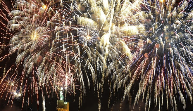 The Thunder on the Mountain fireworks show is seen in Birmingham, Ala.