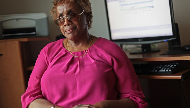 Detroit resident Beatrice Luckett, who is blind, uses the JAWS screen reading software on her desktop computer at home to help her read e-mail and check websites and pay bills.