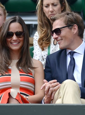 Pippa Middleton and Nico Jackson attend Day 11 of the Wimbledon Lawn Tennis Championships at the All England Lawn Tennis and Croquet Club on July 5.