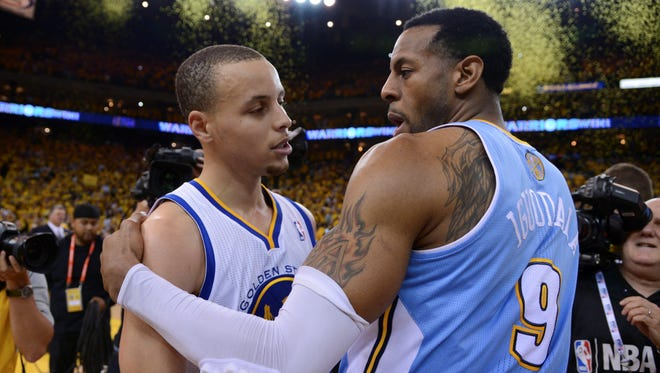Andre Iguodala and the Nuggets were beaten by the Warriors during the playoffs, but now he joins Stephen Curry in Oakland.