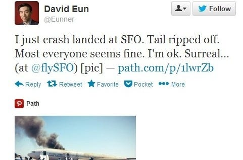 David Eun, an executive at Samsung, was a passenger on the ill-fated Asiana Airline 214 that crashed in San Francisco. He tweeted about the crash shortly after getting out of the smoking plane.