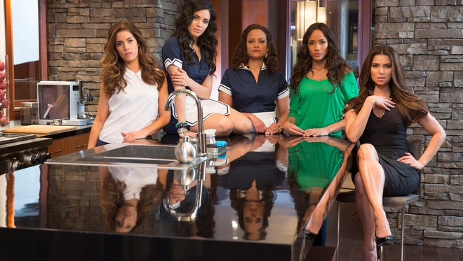"""From left, Ana Ortiz, Edy Ganem, Judy Reyes, Dania Ramirez and Roselyn Sanchez star in the new Lifetime series """"Devious Maids."""""""