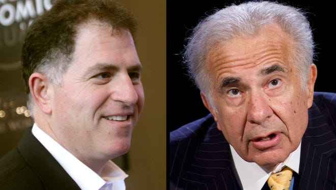 Dell founder Michael Dell, left, and Carl Icahn, right. Carl Icahn penned an open letter to Dell stockholders urging them to get shares appraised before approving Michael Dell's $2.4 billion plan to take the computer maker private.