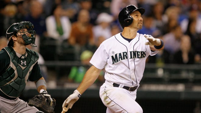 Raul Ibanez, here hitting a three-run homer against the Oakland Athletics, has a chance to hit the most home runs for a player older than 40.