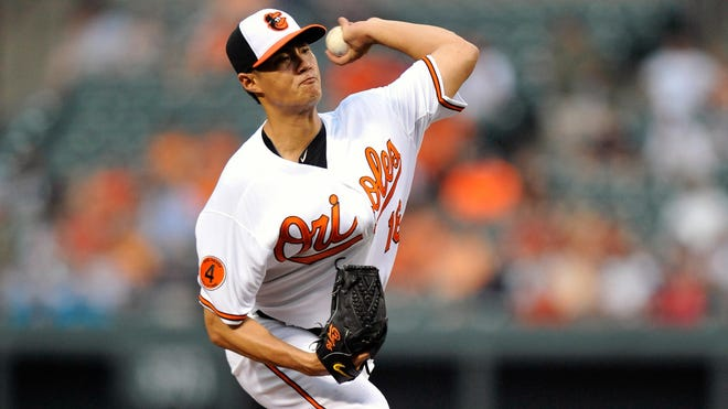 Baltimore Orioles starting pitcher Wei-Yin Chen throws in the third inning against the Texas Rangers at Oriole Park at Camden Yards.