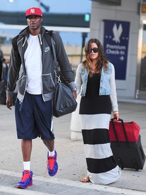 Lamar Odom and Khloe Kardashian on June 19, 2012 in NYC.