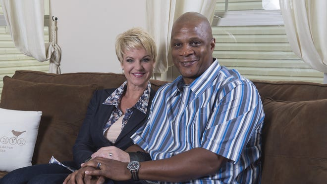 Darryl Strawberry, right, and his wife Tracy at their home in St. Peters, Mo.