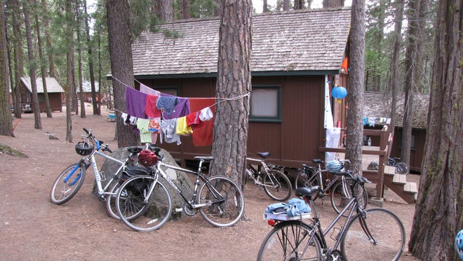 Bikes are the main mode of transportation at Camp Mather. On Monday and Tuesday staff run tie-dye sessions at the tennis courts. The camp provides the materials, campers bring clothing to dye. By mid-week so many people are wearing their newly-dyed clothes that it looks a little like a Grateful Dead concert, minus the music.