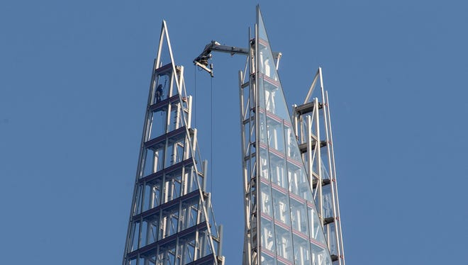 One of six Greenpeace protesters Thursday  reached  the top of The Shard, the tallest building in western Europe, during a protest against the oil company Shell's drilling in the Arctic.