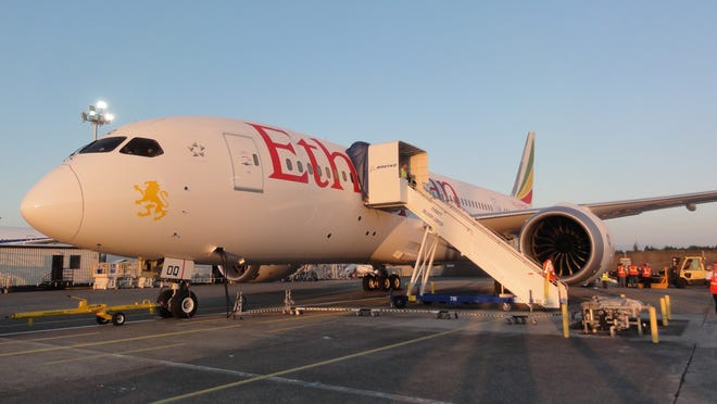 "A file photo of Ethiopian Airlines first Boeing 787 Dreamliner prior to its ""delivery flight"" on Aug. 15, 2012."