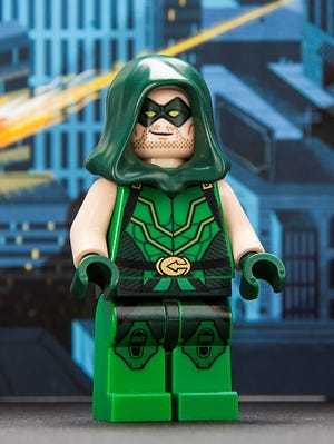 A Green Arrow minifigure is one of four superhero characters LEGO will be handing out at its Comic-Con booth next week.