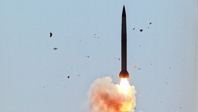 In this undated photo from files a S-300 air defense missile is launched in Ashuluk shooting range in southern Russia.