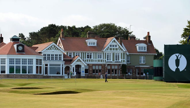 The clubhouse seen in the midday sunshine on a practice day for the 2013 British Open Golf at Muirfield.