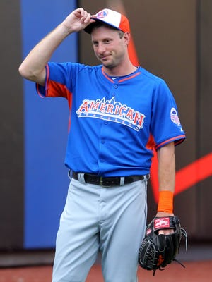 American League pitcher Max Scherzer of the Detroit Tigers during the workout day for the 2013 All-Star Game at Citi Field.