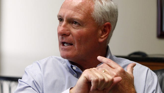 Jimmy Haslam, CEO of Pilot Flying J, speaks during a press conference at the company's Knoxville, Tenn., headquarters in April.