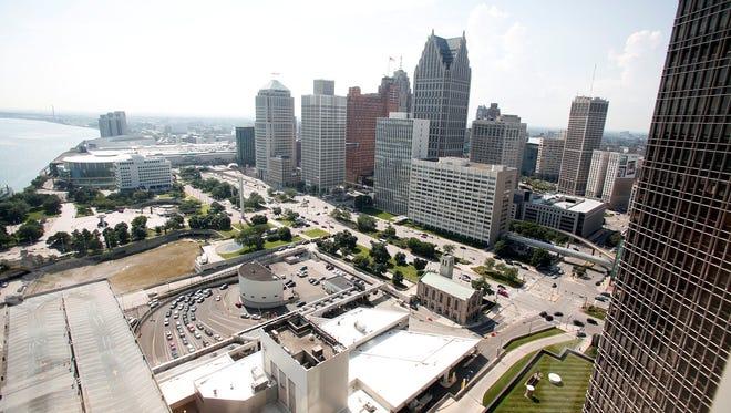 A portion of downtown Detroit along the Detroit river.
