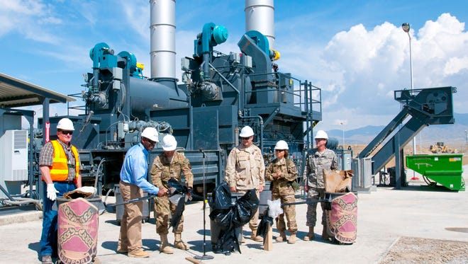 Last year's opening of the Solid Waste Management Complex at Bagram Airfield in  Afghanistan. At another U.S. base, two largest incinerators were not being used; instead, solid waste was being burned in an open pit, worsening the already bad air quality at the base.