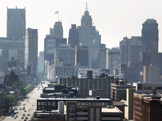 A view of Downtown Detroit looking south on Woodward Avenue