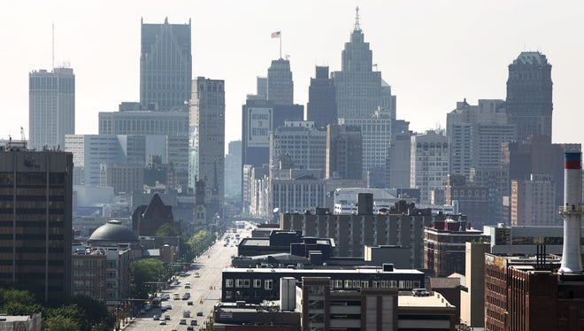 A view of downtown Detroit looking south on Woodward Avenue is shown July 19, 2013. Detroit's emergency manager Kevin Orr filed for Chapter 9 bankruptcy, making Detroit the largest city to file for bankruptcy in U.S. history.