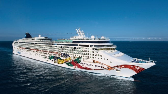 An aerial view of the Norwegian Jewel cruise ship