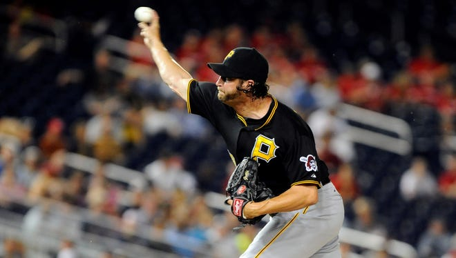 Pittsburgh Pirates relief pitcher Jason Grilli throws during the ninth inning against the Washington Nationals at Nationals Park.