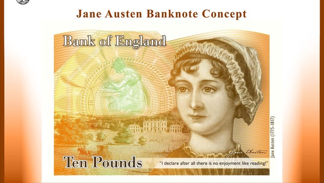 This handout image received on July 24 from the Bank of England shows a concept image of a new 10-pound Note featuring late British author Jane Austen.