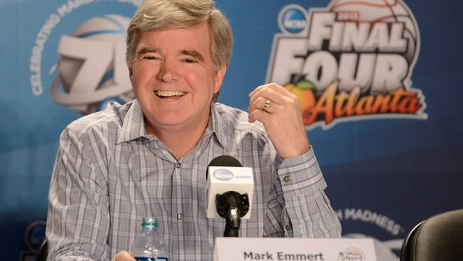 NCAA president Mark Emmert speaks at a press conference in preparation for the men's Final Four of the 2013 NCAA basketball tournament at the Georgia Dome.