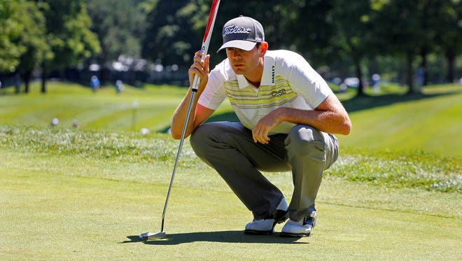 Brendan Steele lines up his putt on the ninth hole during Round 1 of the RBC Canadian Open.