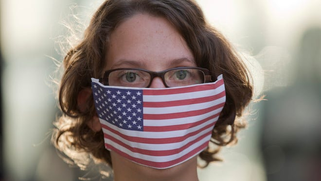 A protester in Sao Paulo, Brazil, against the U.S. surveillance programs.