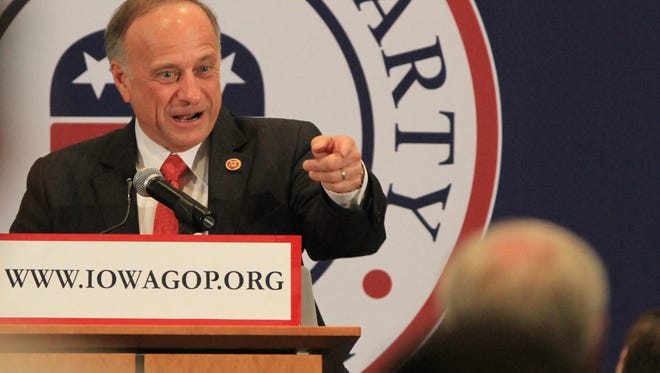 Rep. Steve King speaks at the Iowa GOP Lincoln Dinner earlier this year.