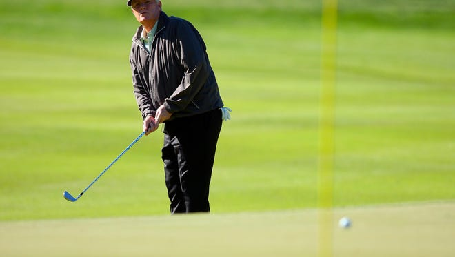 Mark Wiebe, here at the 1st hole during second round of the 74th Senior PGA Championship at Bellerive Country Club in May, shares the lead for the Senior British Open.