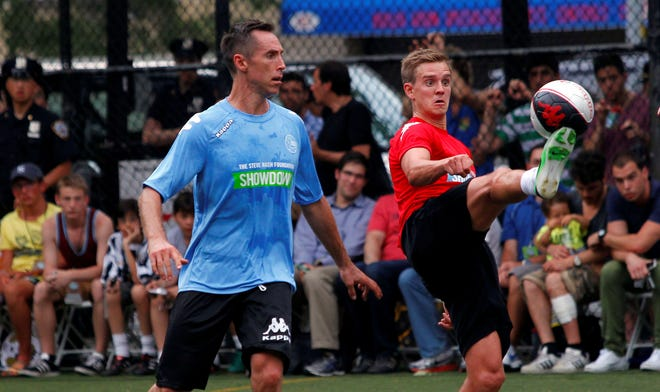 Steve Nash, left, played with USA Soccer star Stuart Holden and other pros at his annual charity event this year.