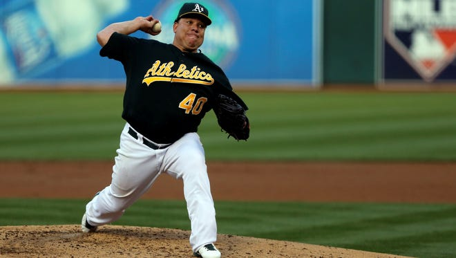 Oakland Athletics starting pitcher Bartolo Colon pitches the ball against the Los Angeles Angels during the second inning at O.co Coliseum.