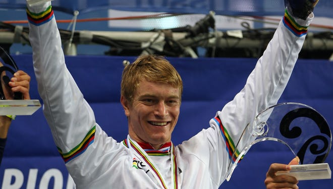 Connor Fields of the USA celebrates winning the Elite Men's time trial at the UCI BMX World Championships in Auckland, New Zealand.
