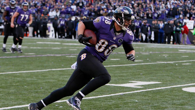 Ravens tight end Dennis Pitta heads to the end zone to score against the Colts during the AFC wild-card playoff game at M&T Bank Stadium.