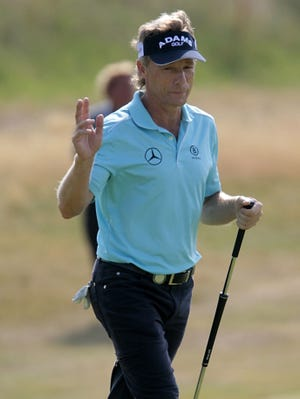 Bernhard Langer takes a three-shot lead into the final round at Royal Birkdale.